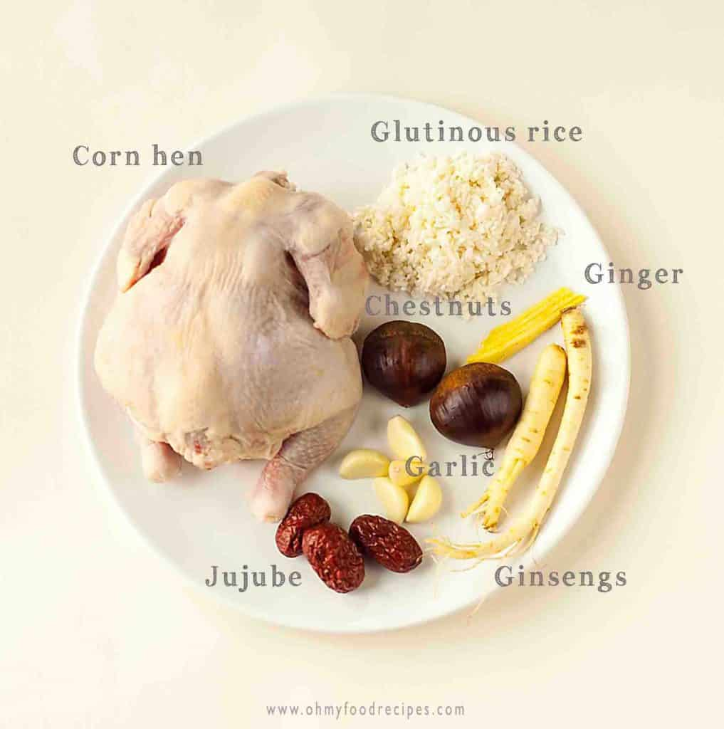 Display ginseng chicken soup Samgyetang ingredients