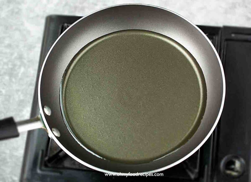 vegetable oil in the pan over the stove