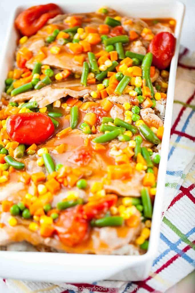 pork chops vegetables over rice