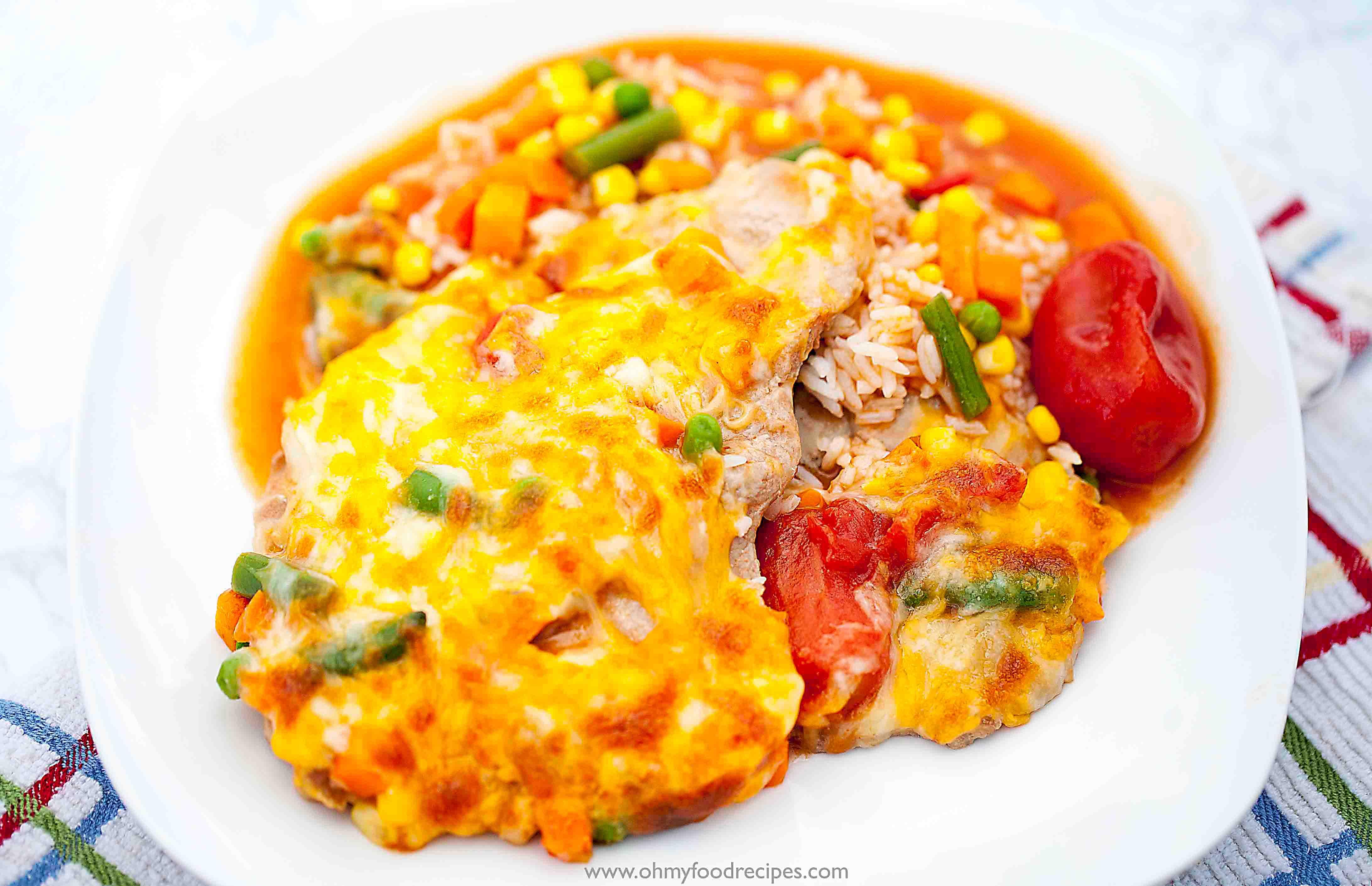 hong kong style pork chop bake rice dish