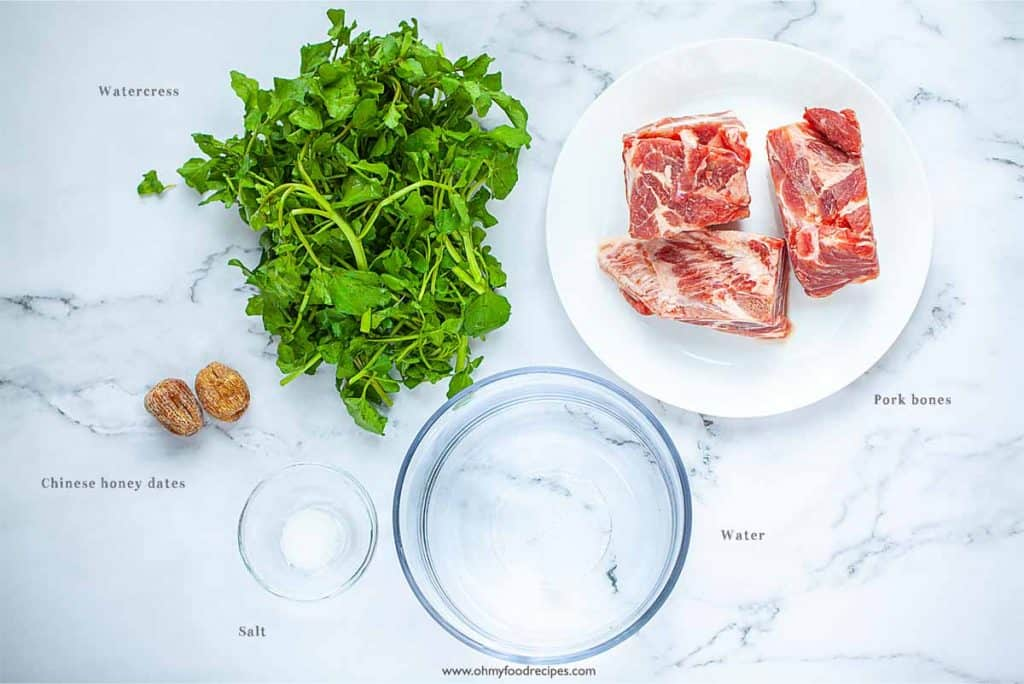 Chinese watercress soup ingredients