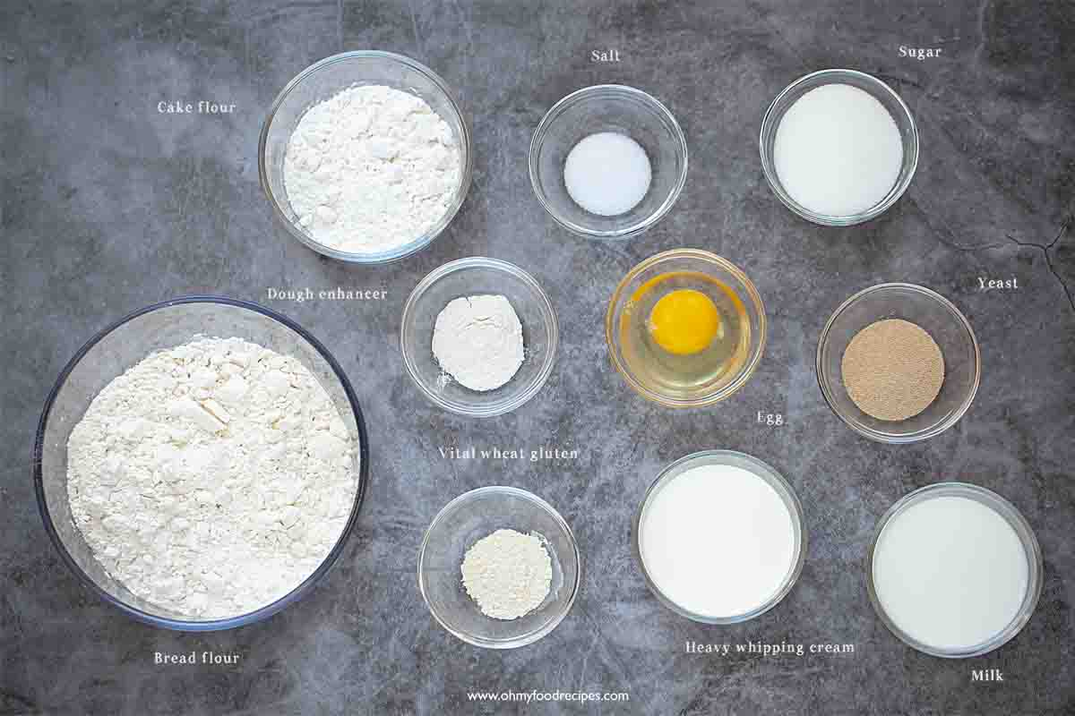 bread dough ingredients for Chinese pineapple buns