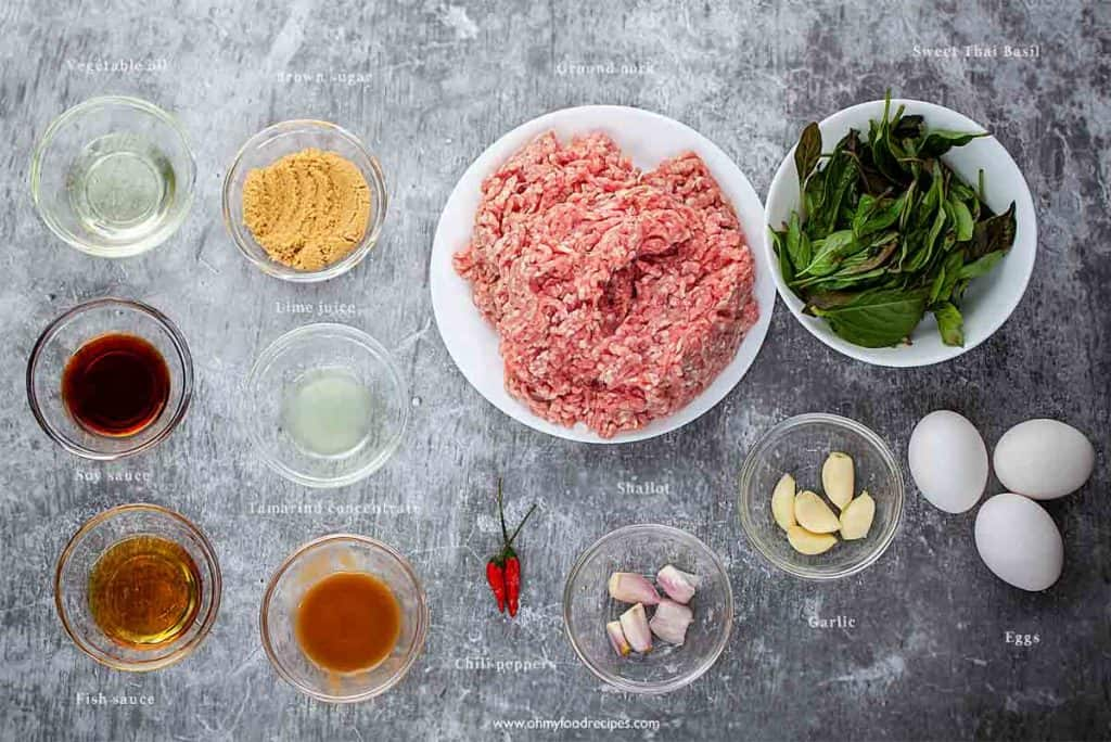 Thai phat kaphrao or pad ka pao ingredients