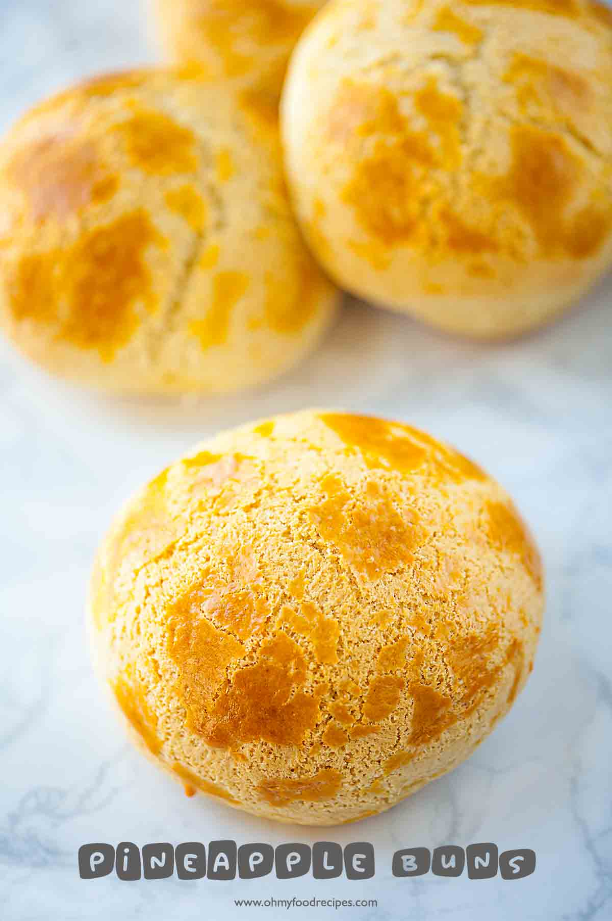 Chinese pineapple buns or bo lo bao close up front