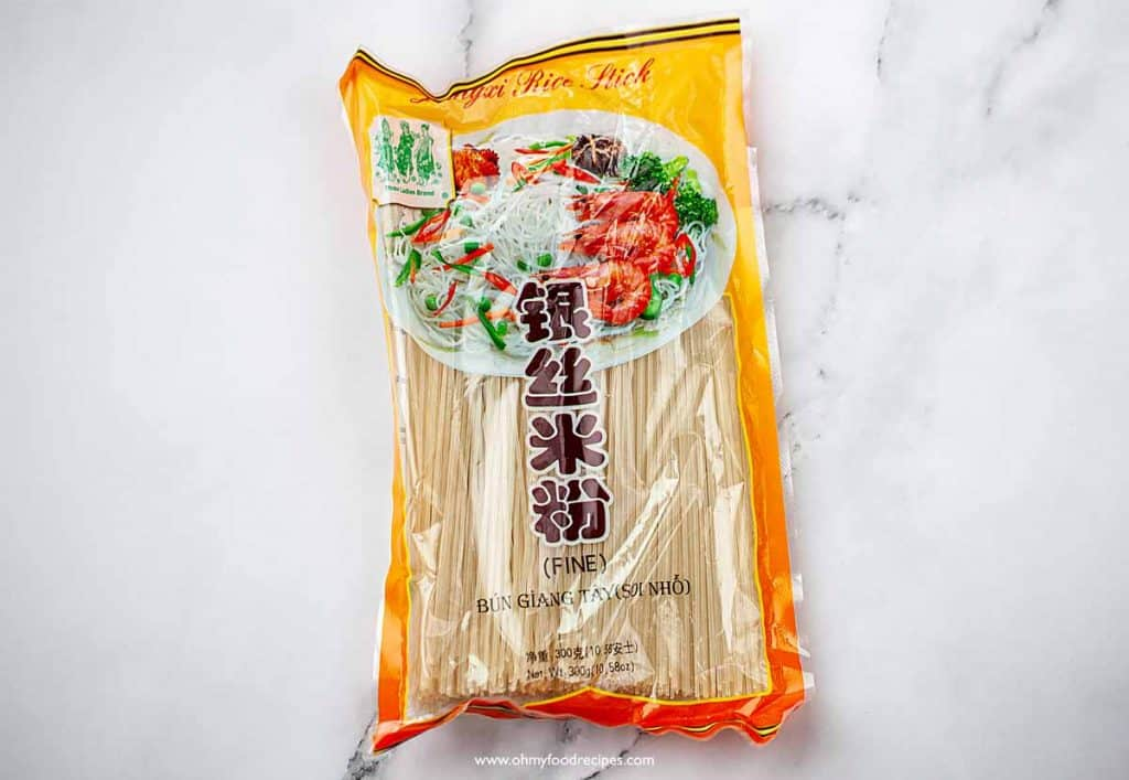 dried rice vermicelli noodles in a package
