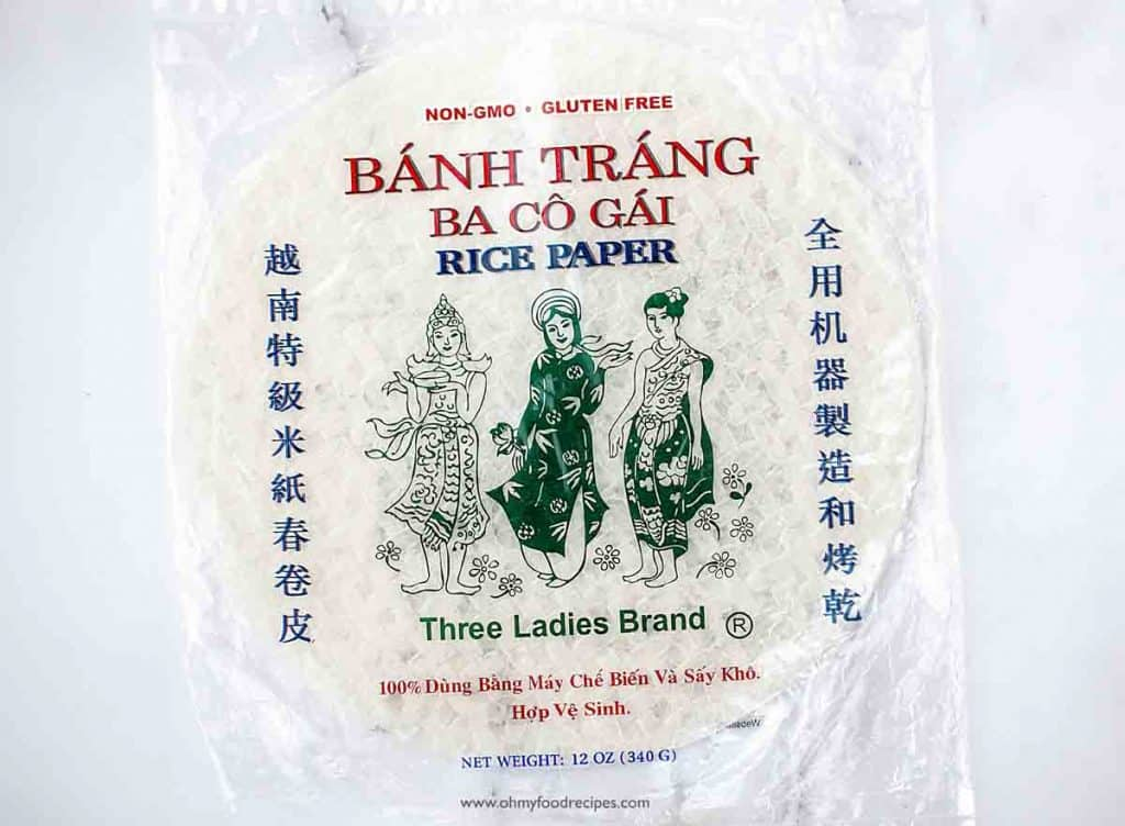dried rice papers or wrappers in a package 3 ladies brand