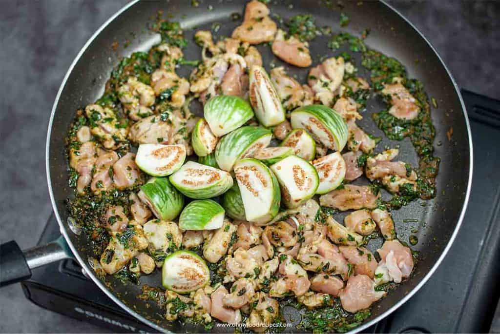 thai eggplant stir fry with chicken green curry paste