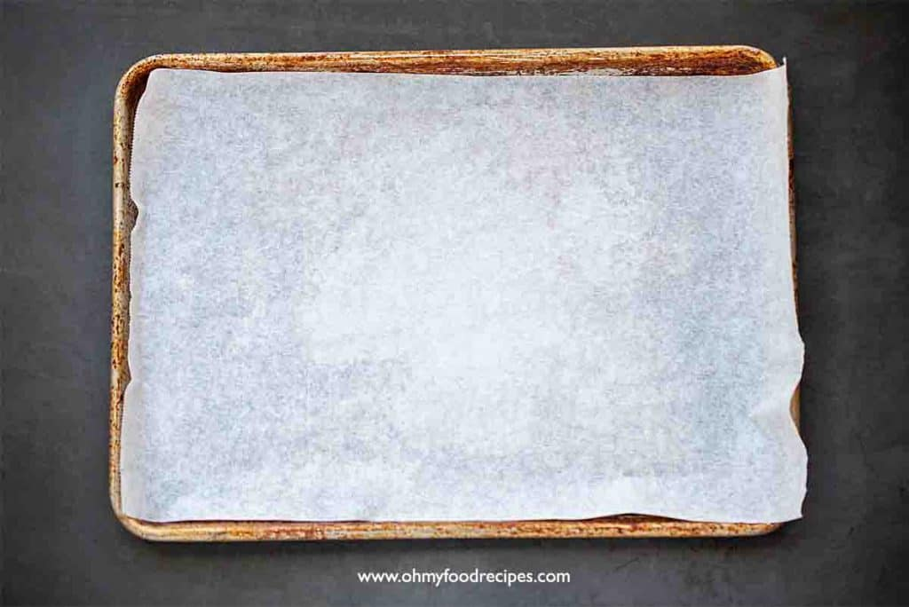 cookie sheet with a parchment paper