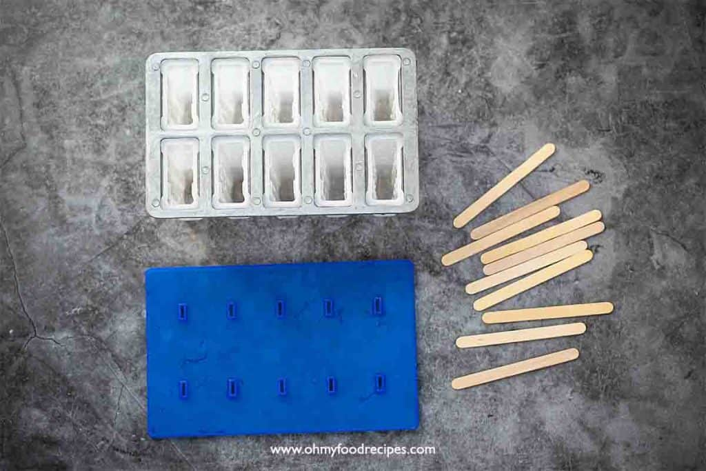 plastic popsicle mold and popsicle sticks
