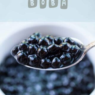 a scoop of cooked boba on spoon how to cook boba