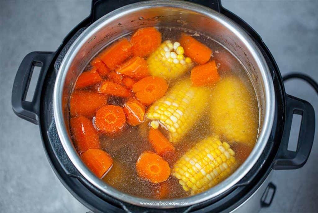 sweet corn carrot pork bone soup in instant pot
