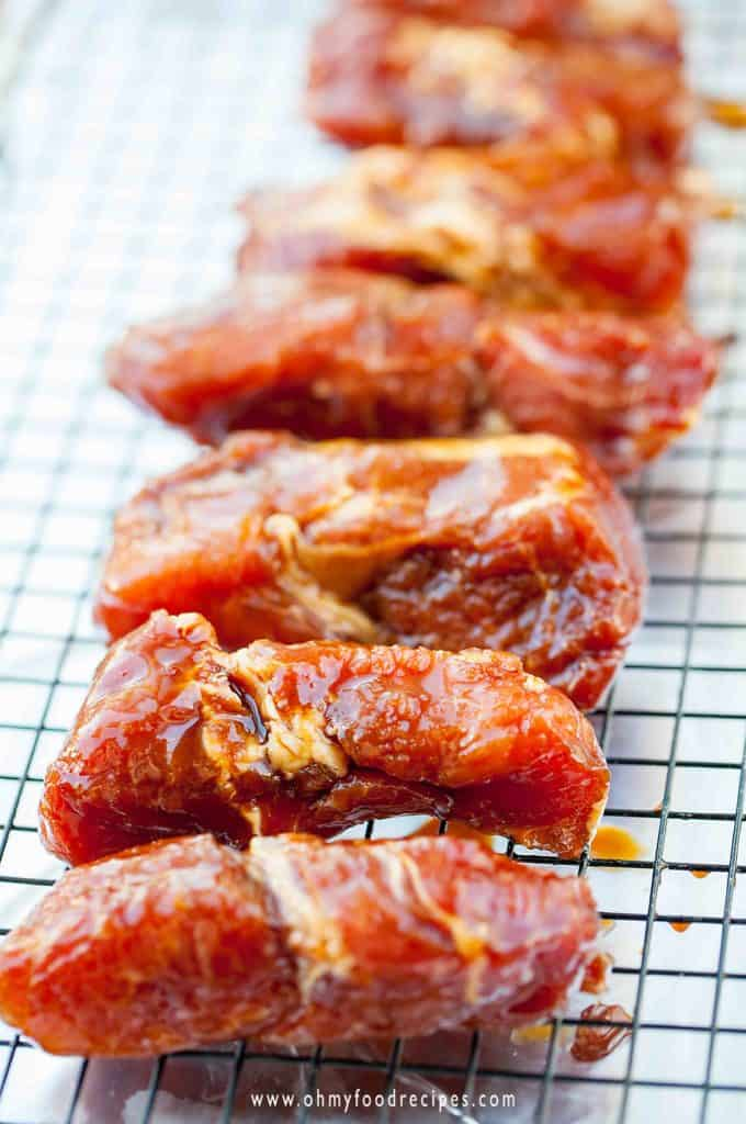 bake char siu Chinese bbq pork on a rack