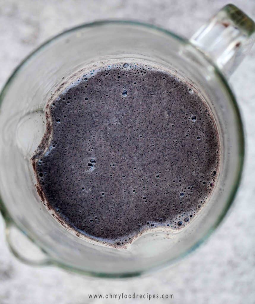 blended black sesame seeds with water in a blender