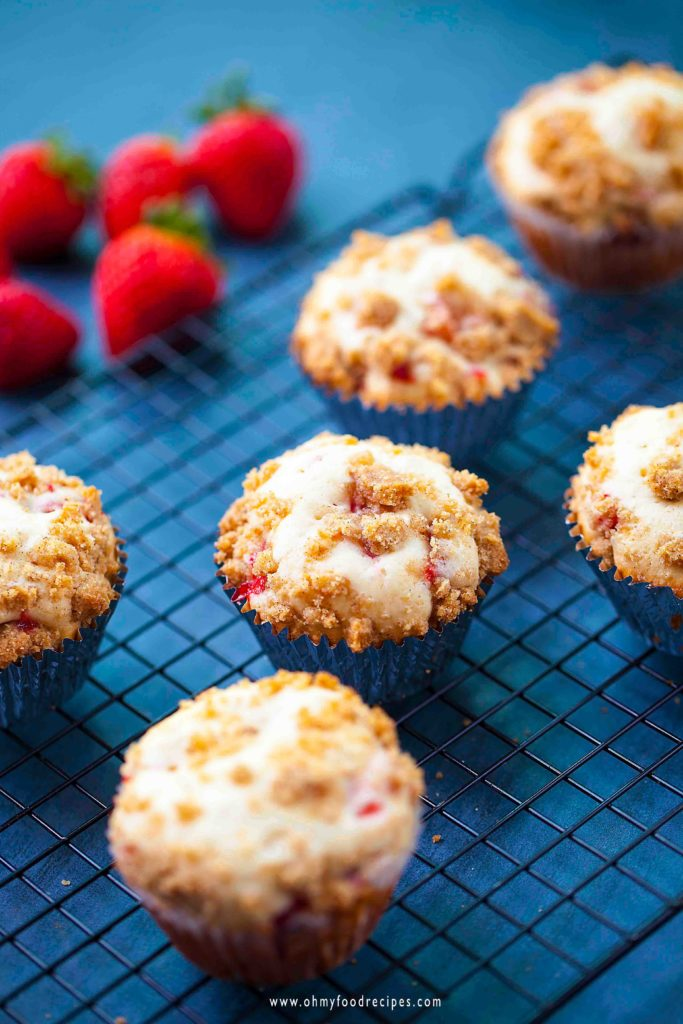 fresh homemade strawberry muffins