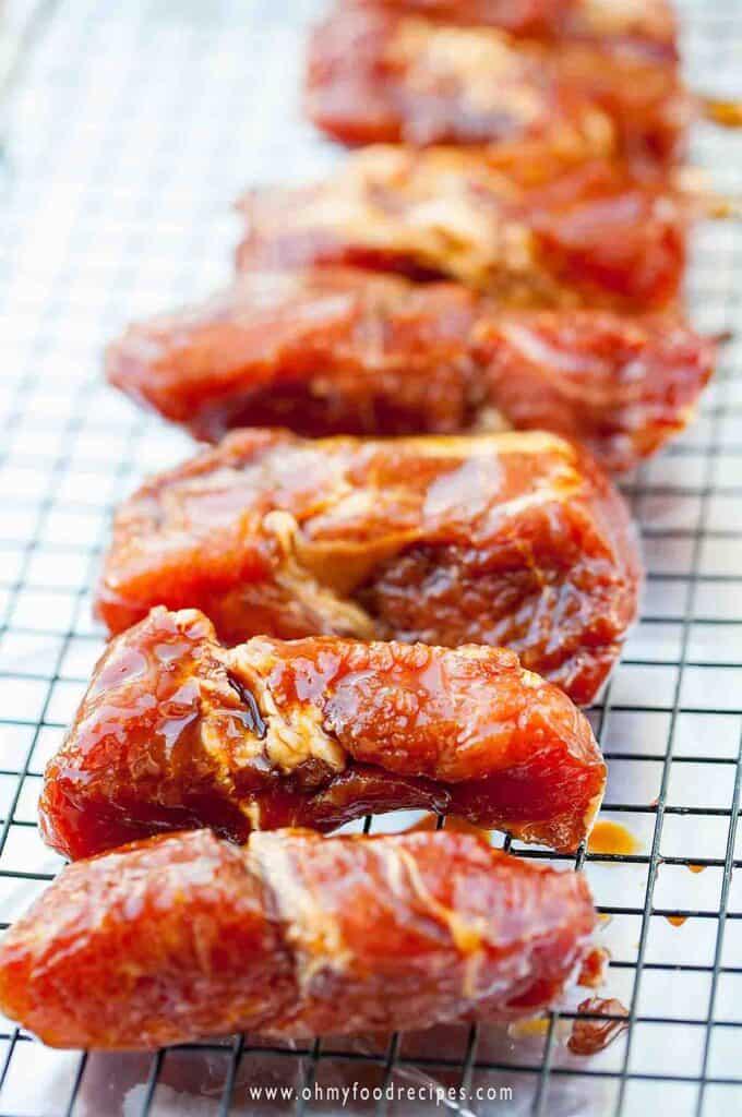 marinated pork on the rack