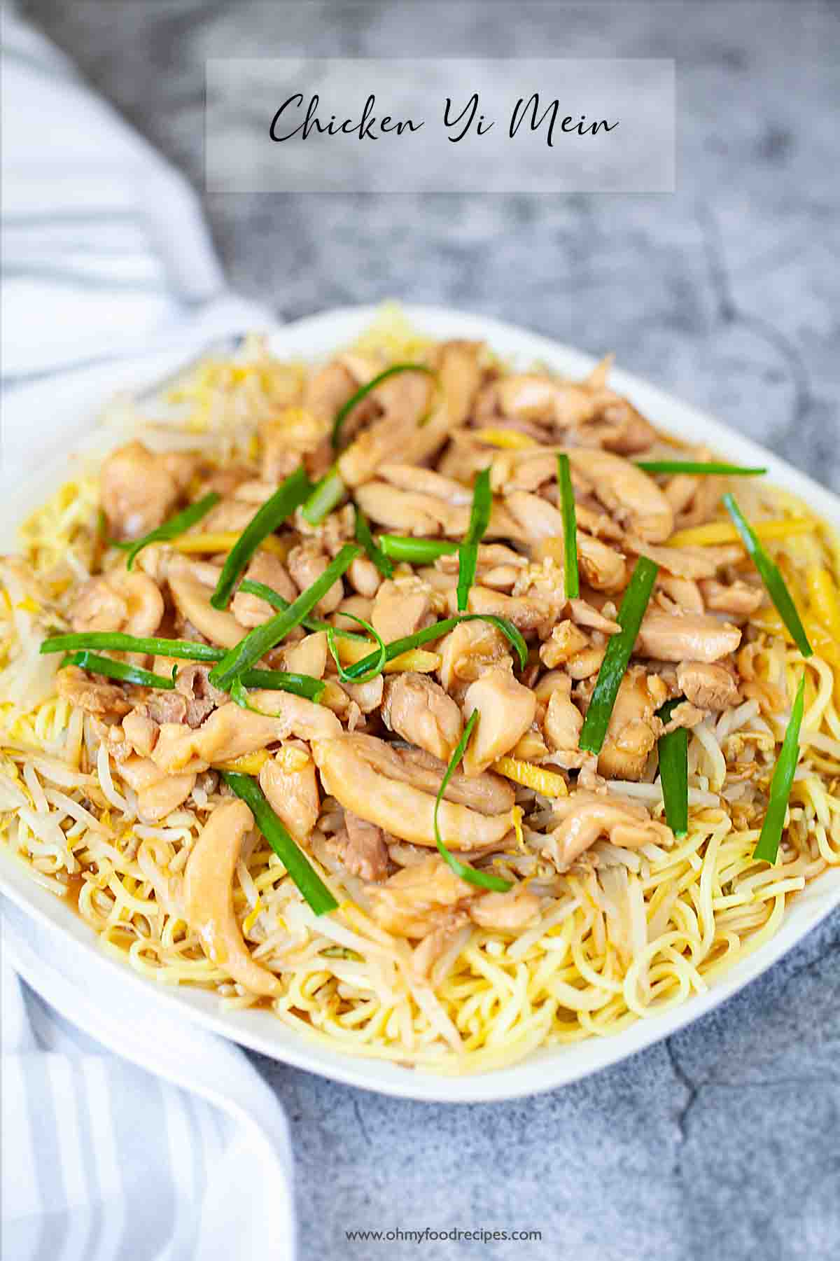 Chicken yi mein noodles on the white plate