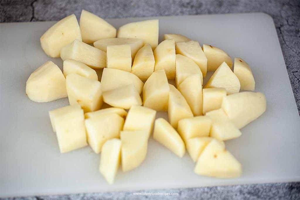 cut potatoes into chunks