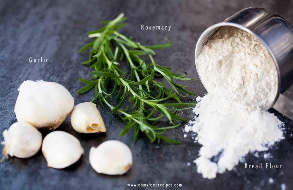 rosemary, garlic, bread flour