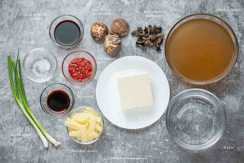authentic Chinese hot and sour soup ingredients
