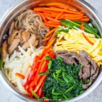 Japchae Korean stir fried glass noodles