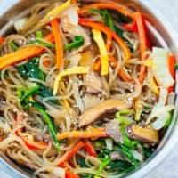 Japchae Korean stir fried glass noodles mixed