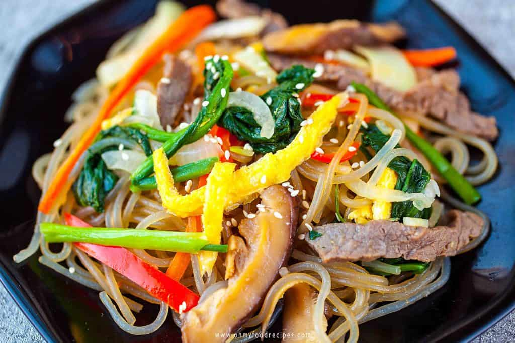 Japchae Korean stir fried glass noodles