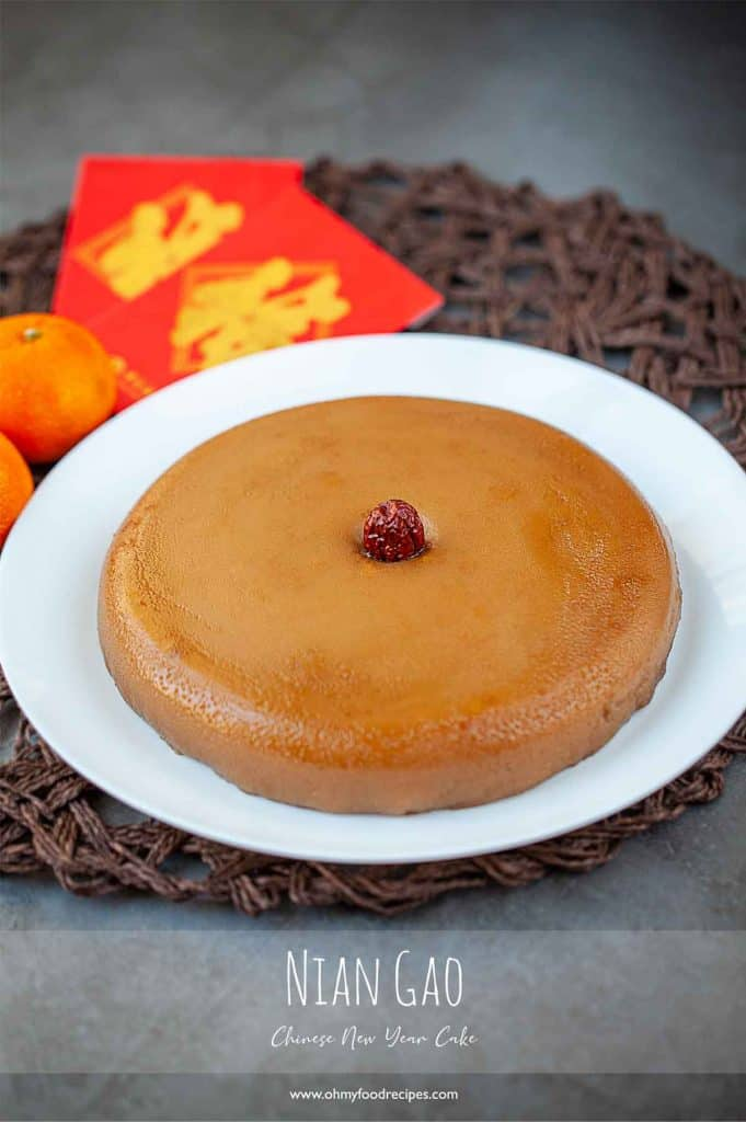Nian gao Chinese new year rice cake with jujube in the middle