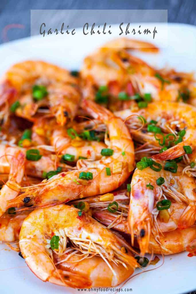 chili garlic shrimp or prawns top with green onions
