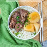 Chinese braised beef ho fun noodles soup instant pot recipe