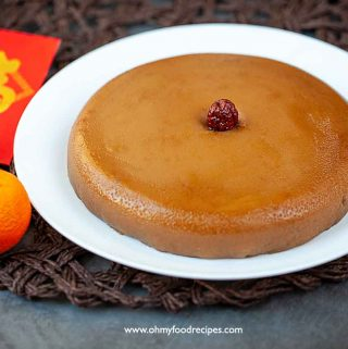 Chinese New Year rice cake nian gao with dried jujube in the middle