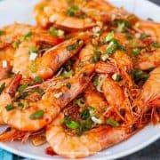 Asian style chili garlic shrimp stir fry