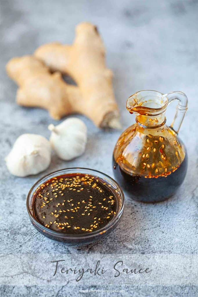 Homemade Asian teriyaki sauce in the bottle and container