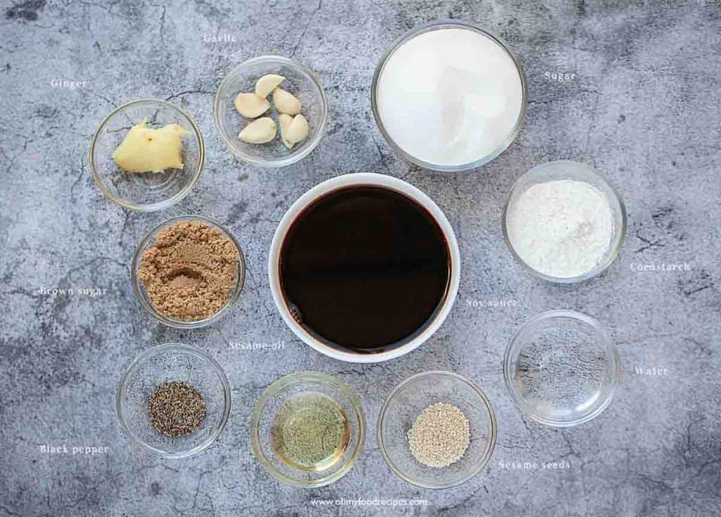 Homemade Asian teriyaki sauce ingredients