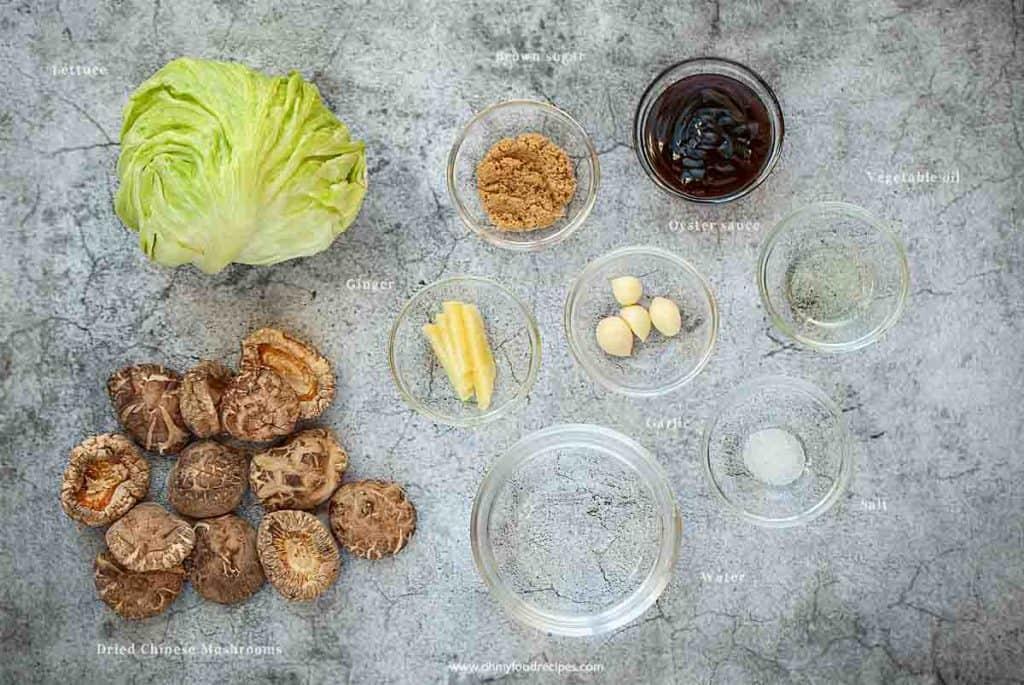 braised Chinese mushrooms ingredients