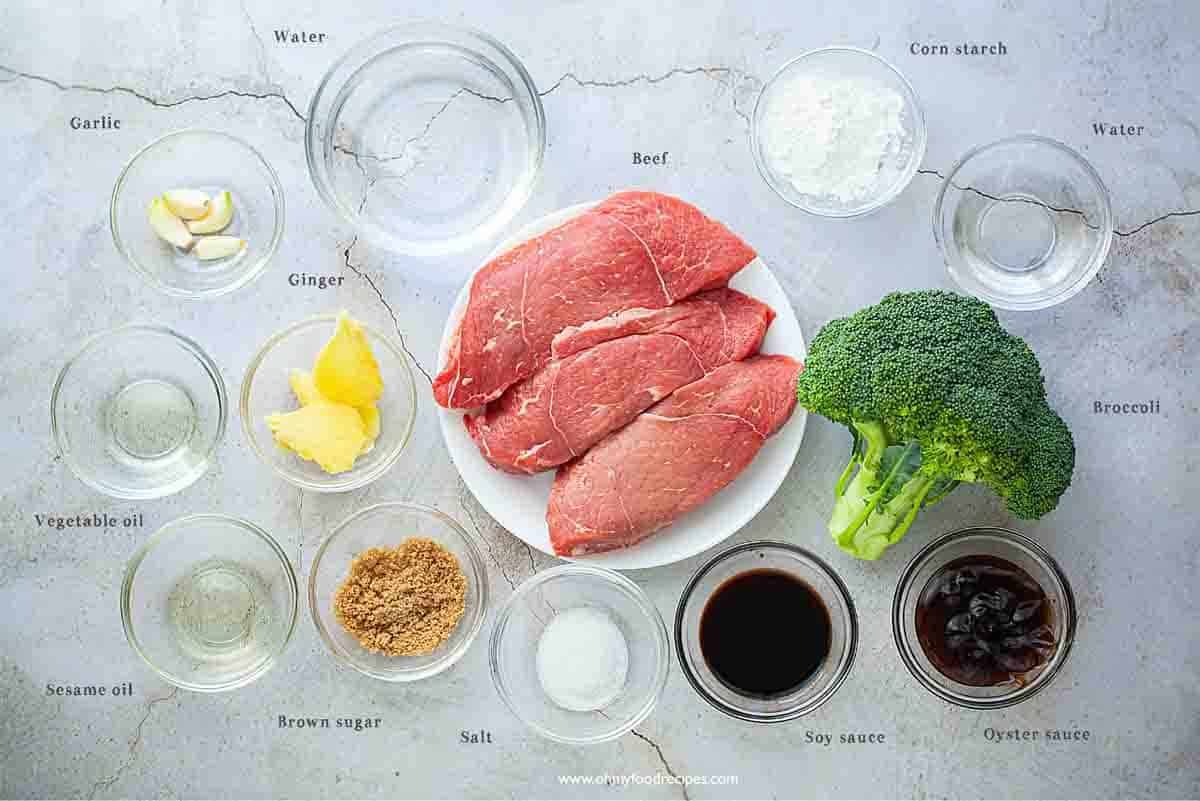 Chinese beef and broccoli ingredients