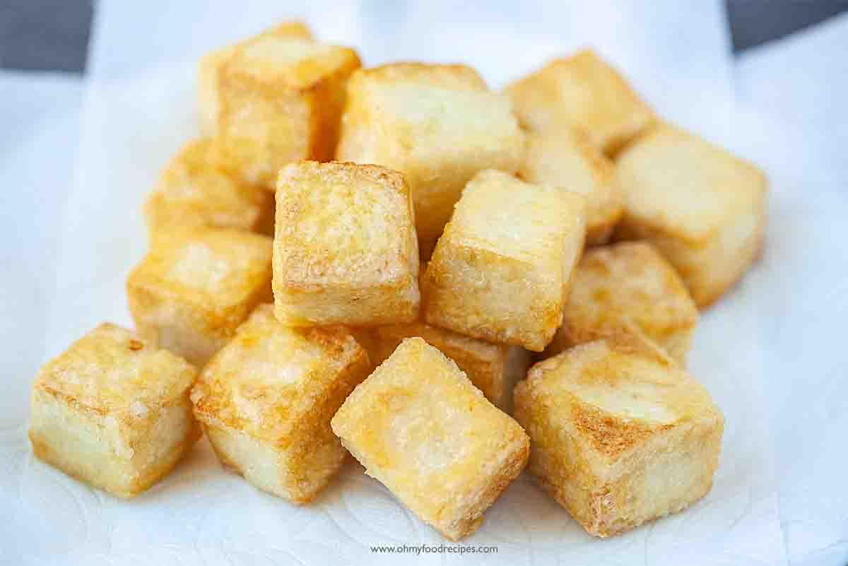 crispy pan fried golden tofu