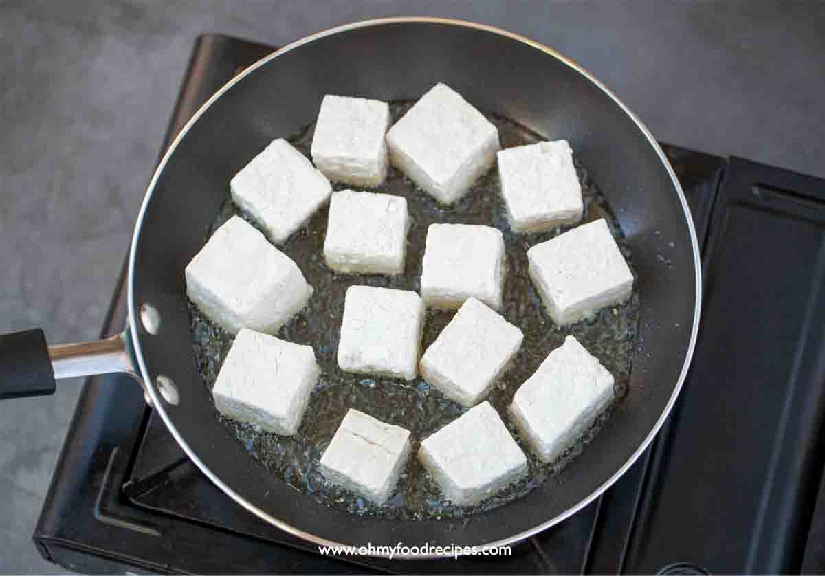 pan fry tofu in a non-stick pan over the stove