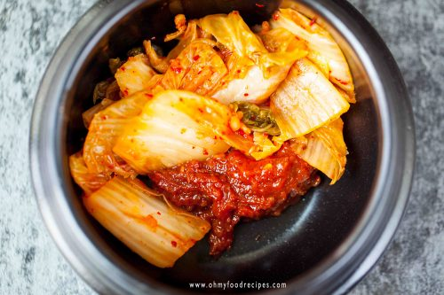 kimchi and chili soybean paste in a pot
