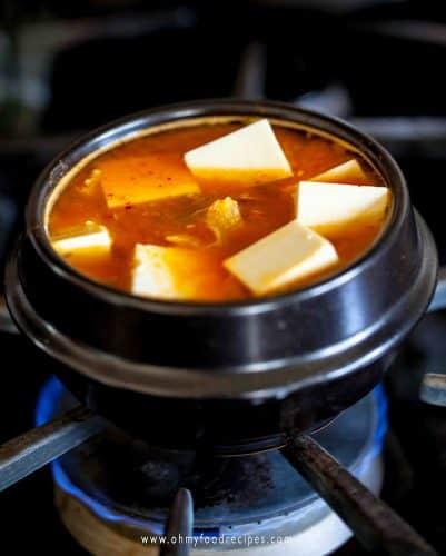 kimchi tofu soup on the stove