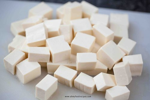 cut soft tofu into cubes