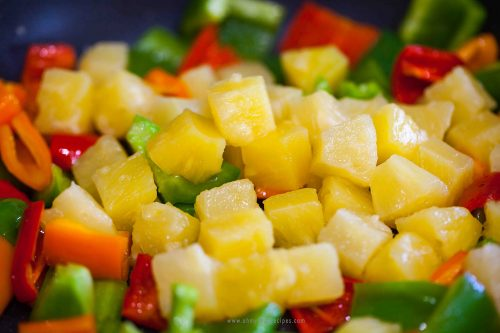 stir fried bell peppers and pineapple
