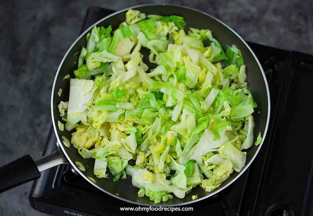 stir fry cabbage in the non-stick pan