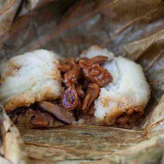 lo mai gai sticky rice lotus wrap on lotus leaf