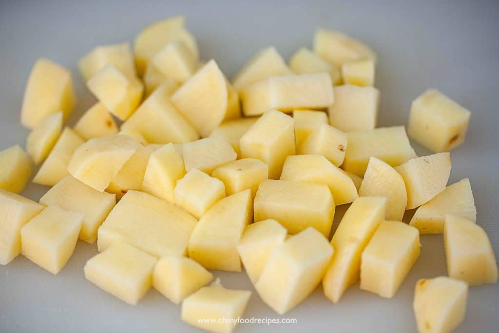 cut potatoes into chunks