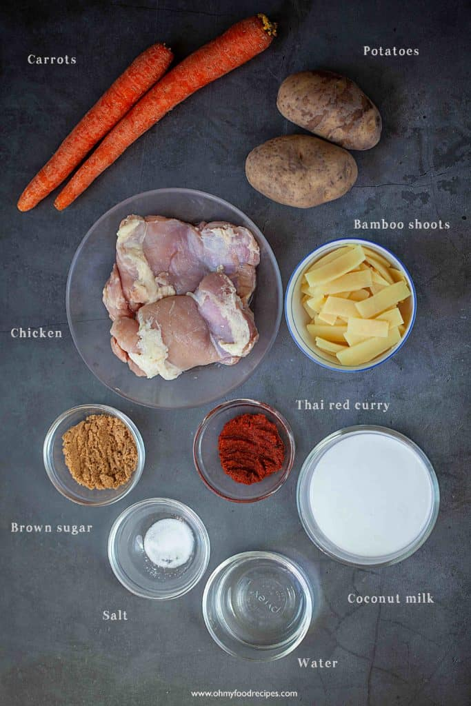 Thai red curry chicken ingredients