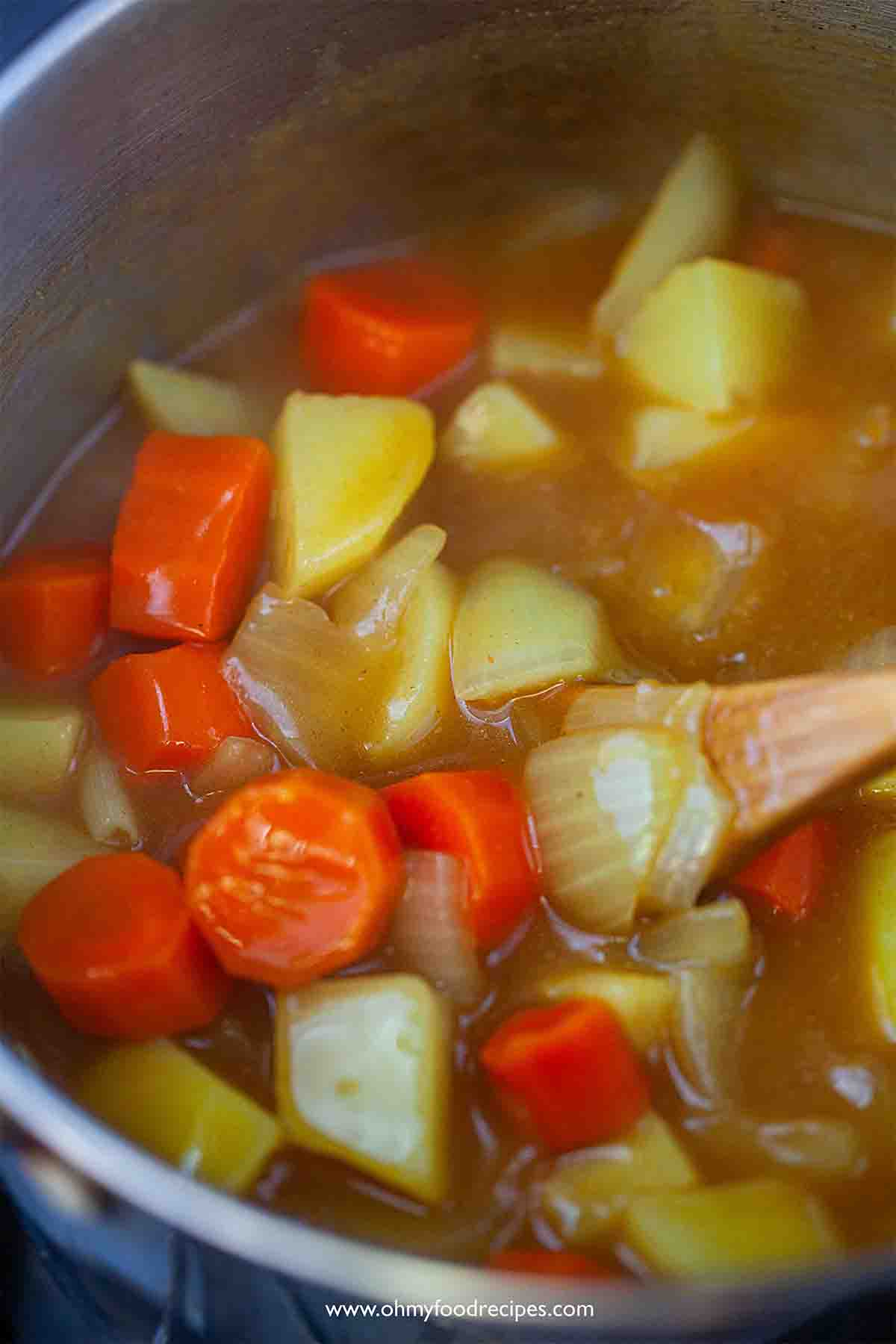 stirring curry with vegetables in the pot