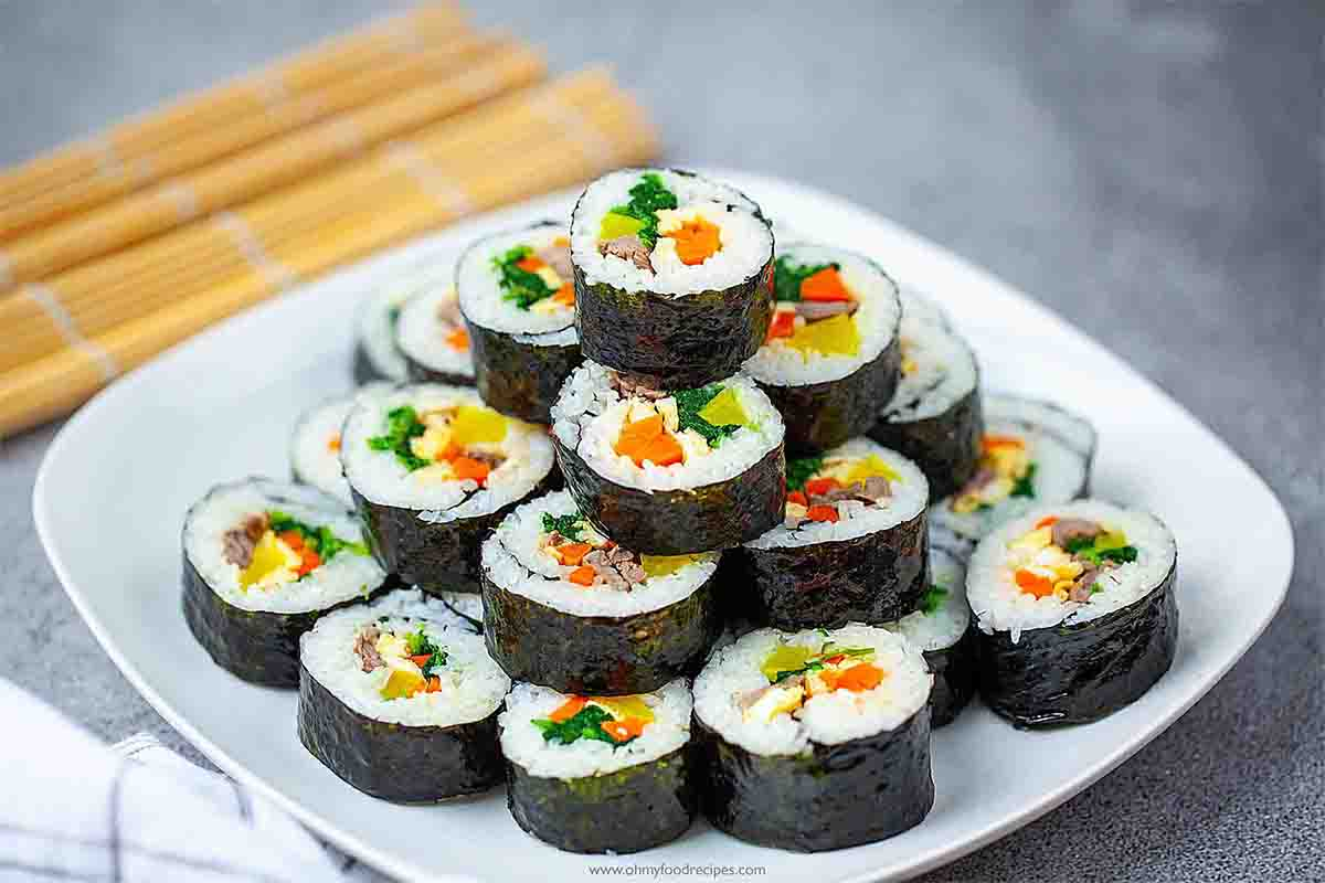 Korean sushi rolls Kimbap cut into pieces and stack up