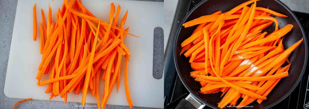 cut carrots into strips and stir fried carrots