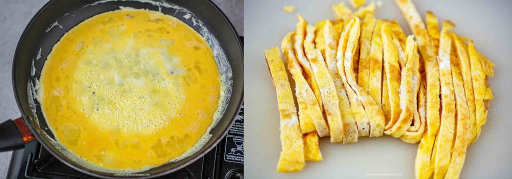 pan fried eggs and cut eggs into strips