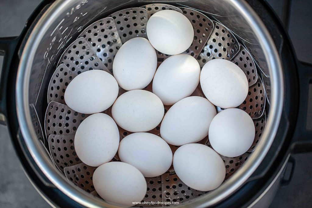 eggs on the rack inside instant pot